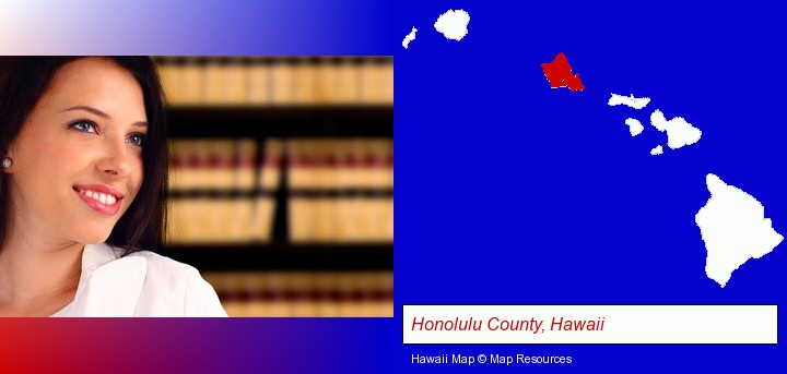 a young, female attorney in a law library; Honolulu County, Hawaii highlighted in red on a map
