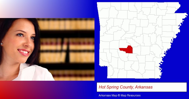 a young, female attorney in a law library; Hot Spring County, Arkansas highlighted in red on a map