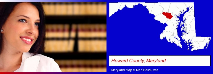 a young, female attorney in a law library; Howard County, Maryland highlighted in red on a map