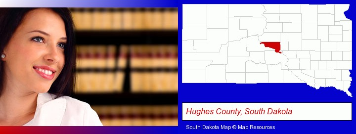 a young, female attorney in a law library; Hughes County, South Dakota highlighted in red on a map