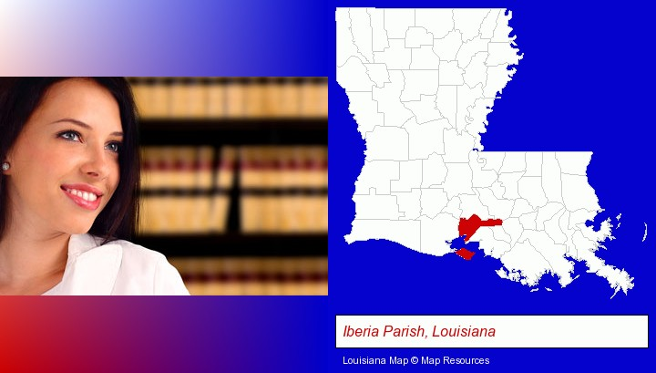 a young, female attorney in a law library; Iberia Parish, Louisiana highlighted in red on a map