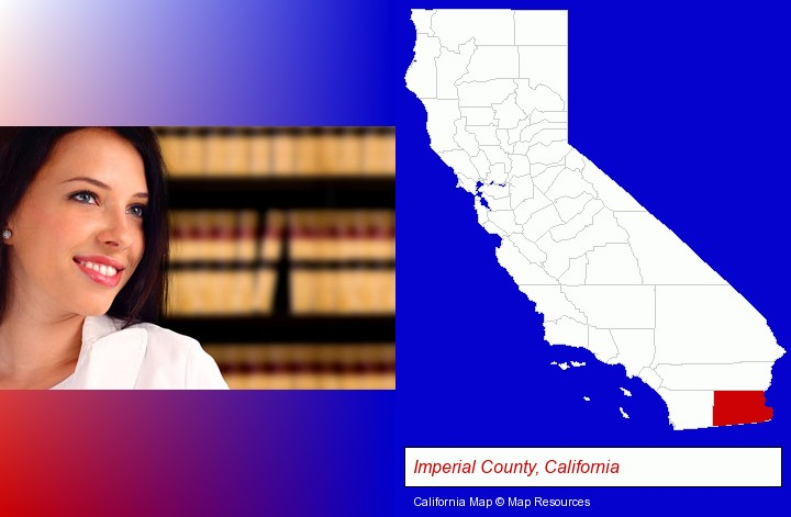 a young, female attorney in a law library; Imperial County, California highlighted in red on a map