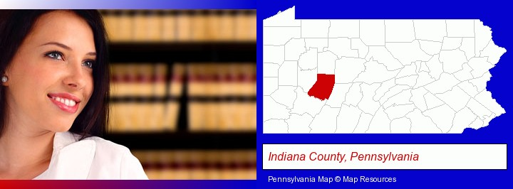 a young, female attorney in a law library; Indiana County, Pennsylvania highlighted in red on a map