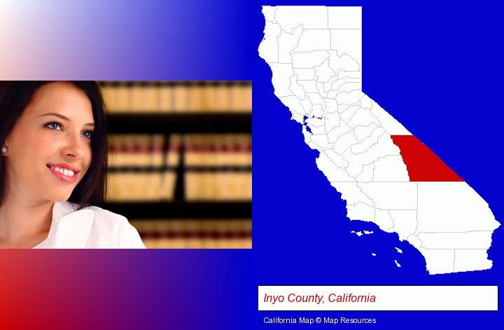 a young, female attorney in a law library; Inyo County, California highlighted in red on a map