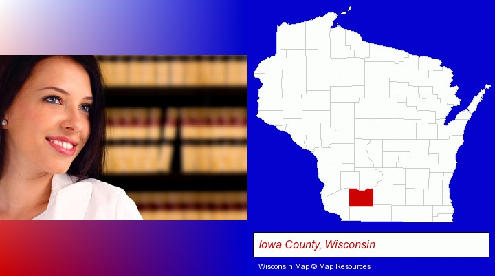 a young, female attorney in a law library; Iowa County, Wisconsin highlighted in red on a map
