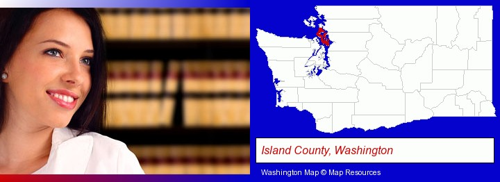 a young, female attorney in a law library; Island County, Washington highlighted in red on a map