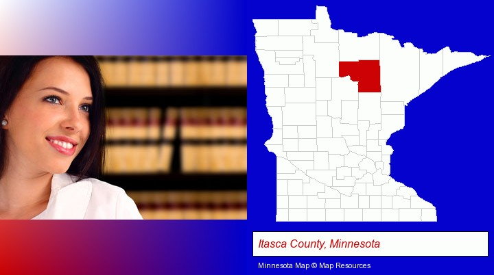 a young, female attorney in a law library; Itasca County, Minnesota highlighted in red on a map