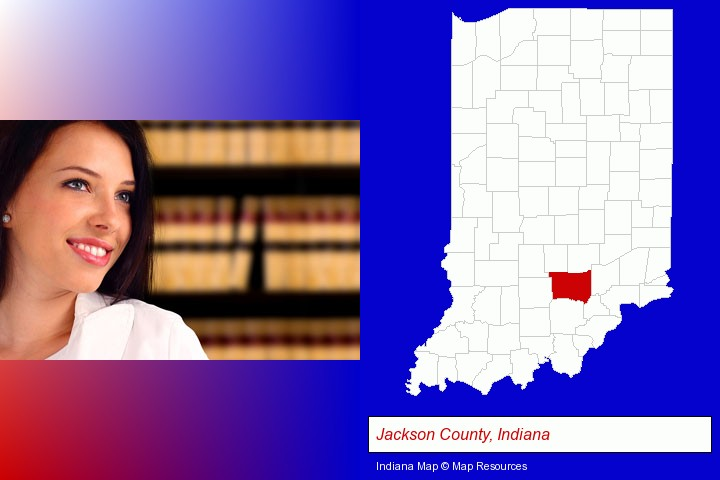 a young, female attorney in a law library; Jackson County, Indiana highlighted in red on a map