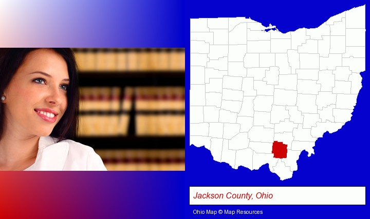 a young, female attorney in a law library; Jackson County, Ohio highlighted in red on a map
