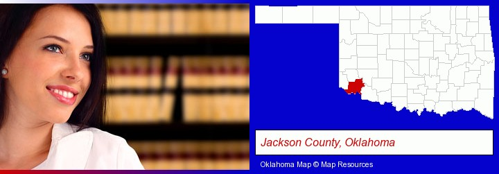 a young, female attorney in a law library; Jackson County, Oklahoma highlighted in red on a map