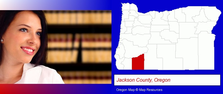 a young, female attorney in a law library; Jackson County, Oregon highlighted in red on a map