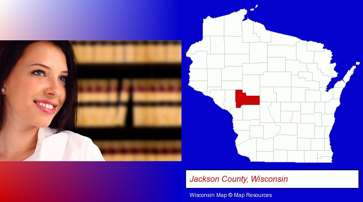 a young, female attorney in a law library; Jackson County, Wisconsin highlighted in red on a map