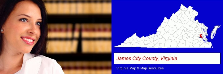 a young, female attorney in a law library; James City County, Virginia highlighted in red on a map