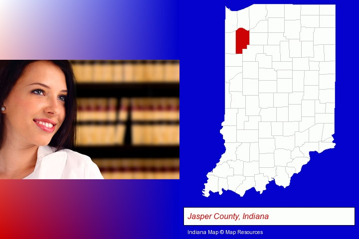 a young, female attorney in a law library; Jasper County, Indiana highlighted in red on a map