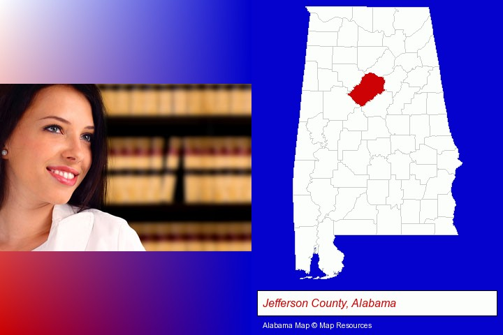 a young, female attorney in a law library; Jefferson County, Alabama highlighted in red on a map