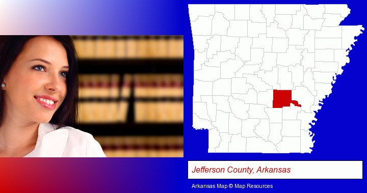 a young, female attorney in a law library; Jefferson County, Arkansas highlighted in red on a map
