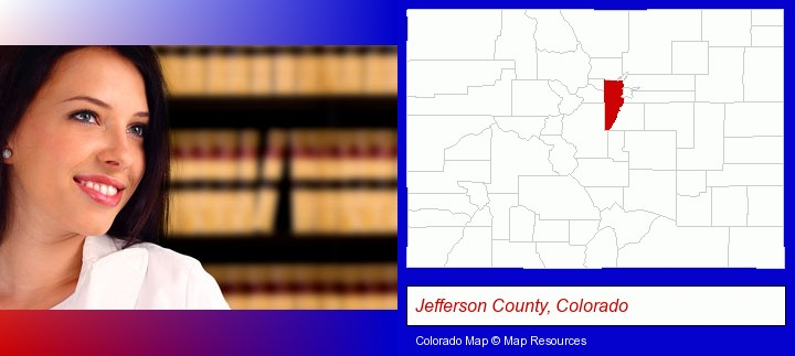 a young, female attorney in a law library; Jefferson County, Colorado highlighted in red on a map