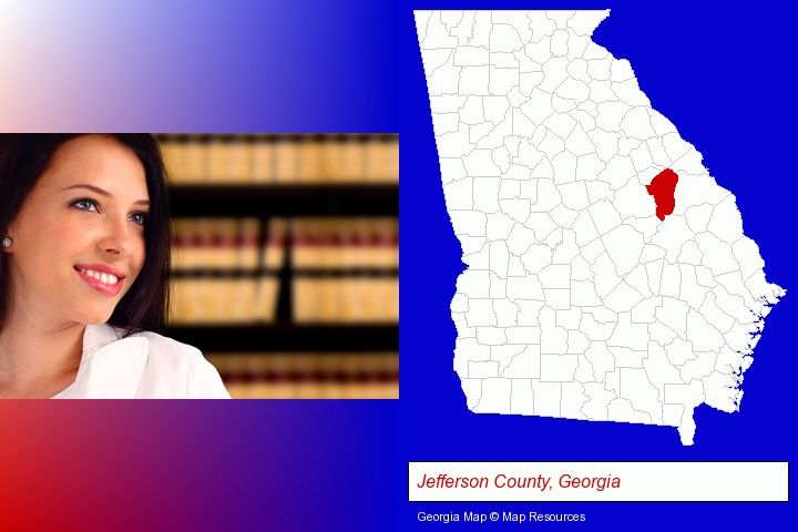 a young, female attorney in a law library; Jefferson County, Georgia highlighted in red on a map