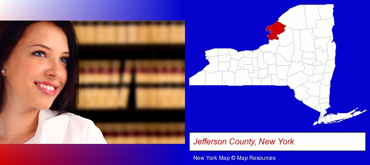 a young, female attorney in a law library; Jefferson County, New York highlighted in red on a map