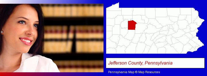 a young, female attorney in a law library; Jefferson County, Pennsylvania highlighted in red on a map