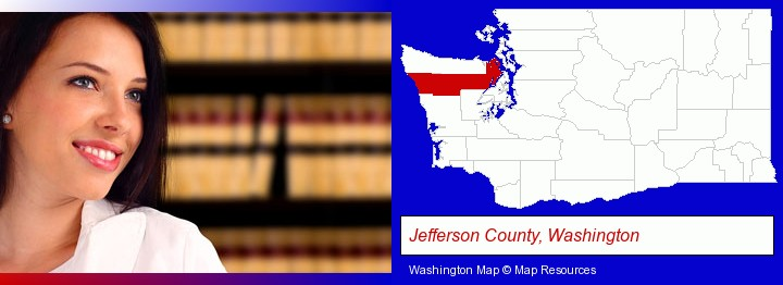 a young, female attorney in a law library; Jefferson County, Washington highlighted in red on a map