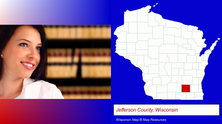 a young, female attorney in a law library; Jefferson County, Wisconsin highlighted in red on a map