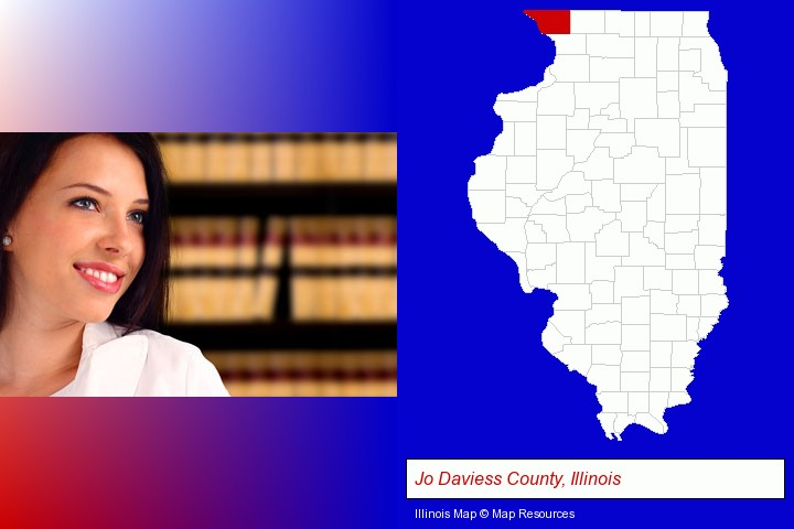 a young, female attorney in a law library; Jo Daviess County, Illinois highlighted in red on a map