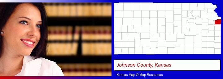a young, female attorney in a law library; Johnson County, Kansas highlighted in red on a map
