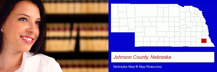 a young, female attorney in a law library; Johnson County, Nebraska highlighted in red on a map