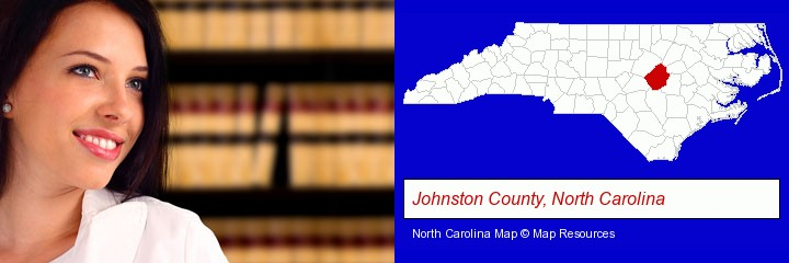 a young, female attorney in a law library; Johnston County, North Carolina highlighted in red on a map