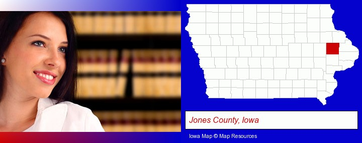 a young, female attorney in a law library; Jones County, Iowa highlighted in red on a map
