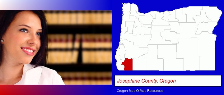 a young, female attorney in a law library; Josephine County, Oregon highlighted in red on a map
