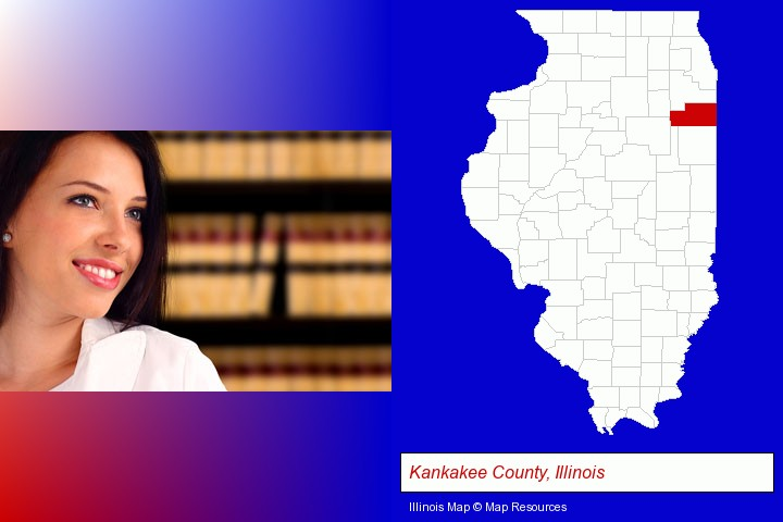 a young, female attorney in a law library; Kankakee County, Illinois highlighted in red on a map