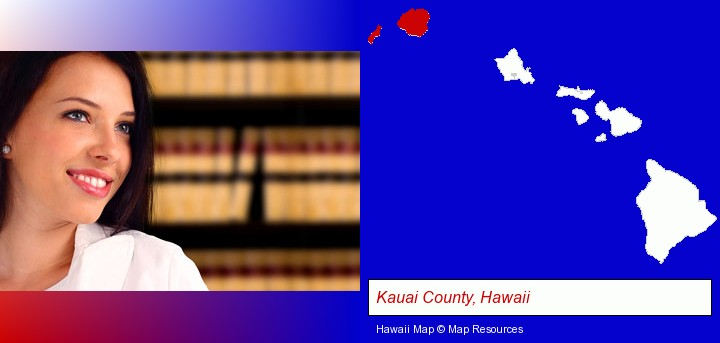 a young, female attorney in a law library; Kauai County, Hawaii highlighted in red on a map