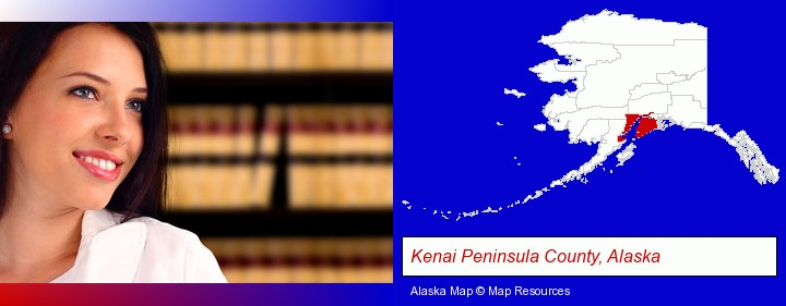 a young, female attorney in a law library; Kenai Peninsula County, Alaska highlighted in red on a map