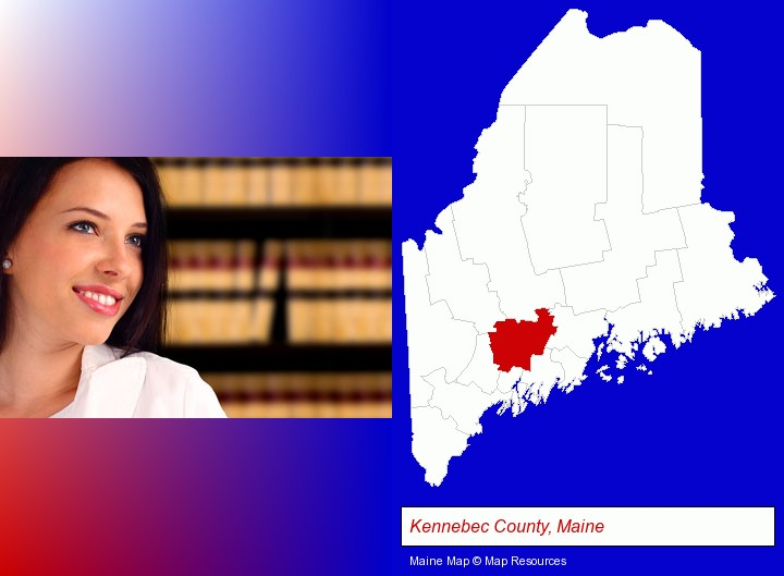 a young, female attorney in a law library; Kennebec County, Maine highlighted in red on a map