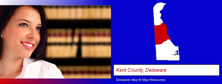 a young, female attorney in a law library; Kent County, Delaware highlighted in red on a map