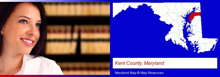 a young, female attorney in a law library; Kent County, Maryland highlighted in red on a map