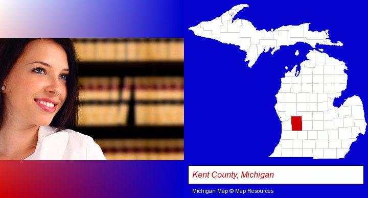 a young, female attorney in a law library; Kent County, Michigan highlighted in red on a map