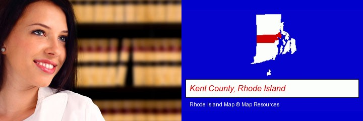 a young, female attorney in a law library; Kent County, Rhode Island highlighted in red on a map