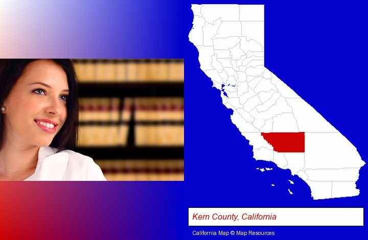 a young, female attorney in a law library; Kern County, California highlighted in red on a map