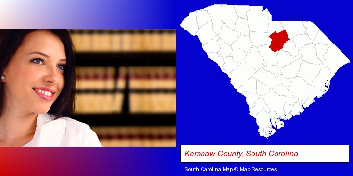 a young, female attorney in a law library; Kershaw County, South Carolina highlighted in red on a map