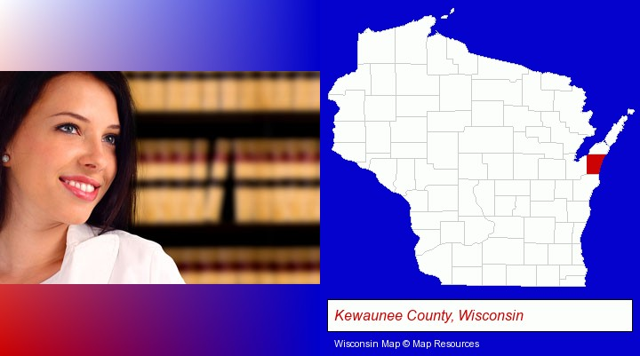 a young, female attorney in a law library; Kewaunee County, Wisconsin highlighted in red on a map