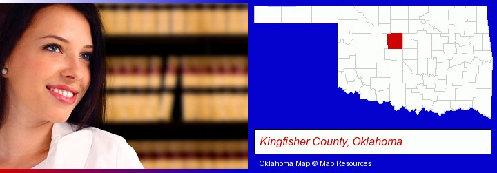 a young, female attorney in a law library; Kingfisher County, Oklahoma highlighted in red on a map
