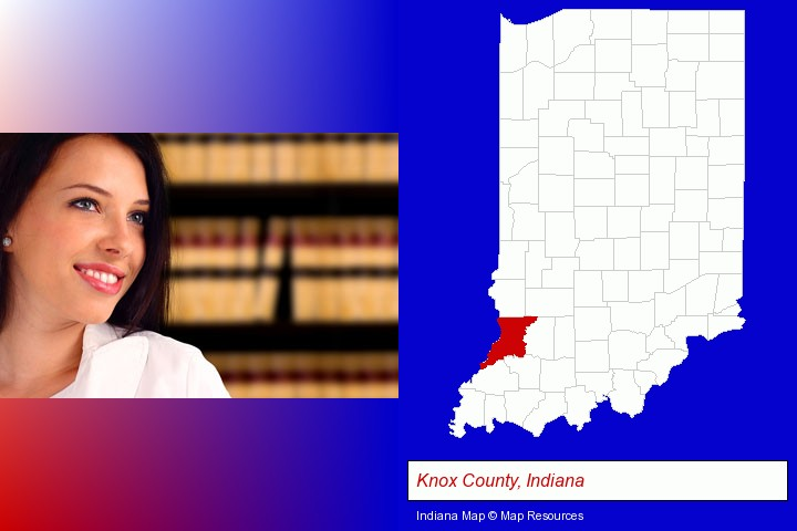 a young, female attorney in a law library; Knox County, Indiana highlighted in red on a map