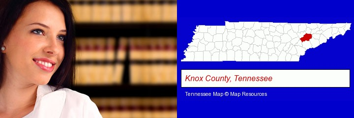 a young, female attorney in a law library; Knox County, Tennessee highlighted in red on a map