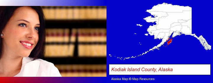 a young, female attorney in a law library; Kodiak Island County, Alaska highlighted in red on a map