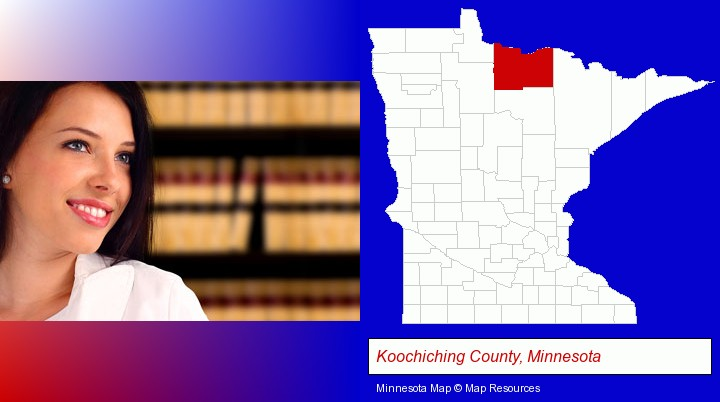 a young, female attorney in a law library; Koochiching County, Minnesota highlighted in red on a map