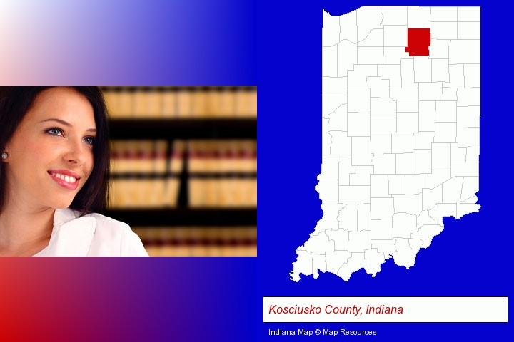 a young, female attorney in a law library; Kosciusko County, Indiana highlighted in red on a map