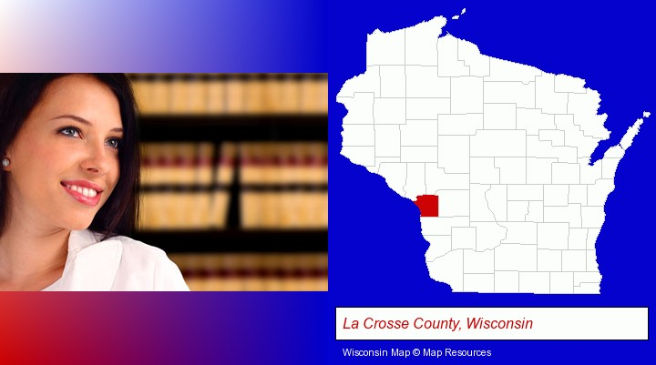 a young, female attorney in a law library; La Crosse County, Wisconsin highlighted in red on a map
